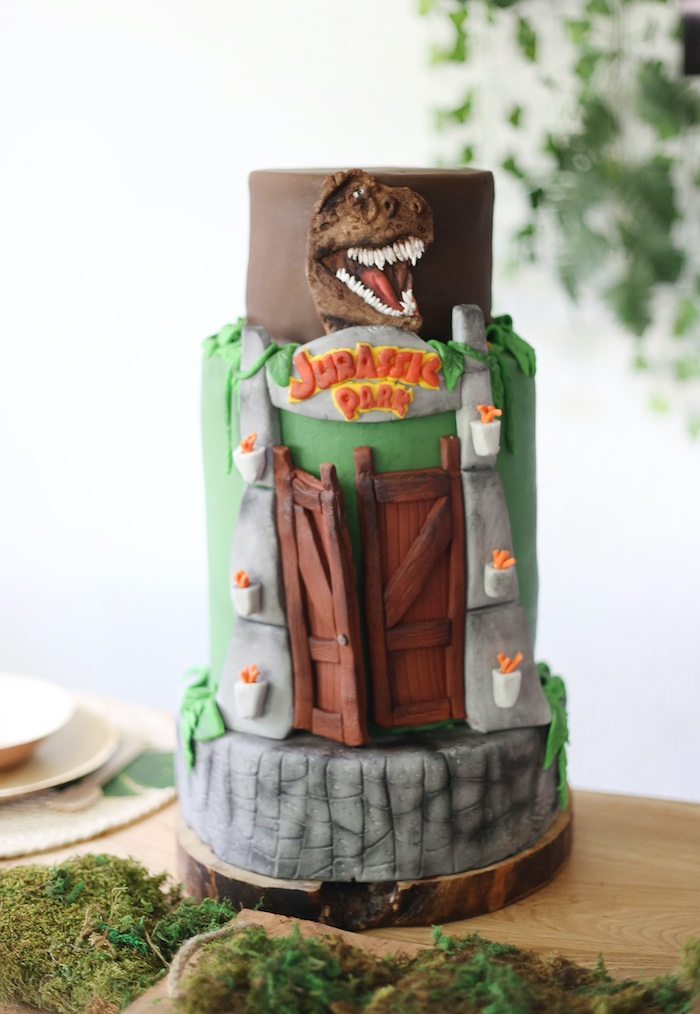 Jurassic Park Cake from a Jurassic World Dinosaur Birthday Party on Kara's Party Ideas   KarasPartyIdeas.com