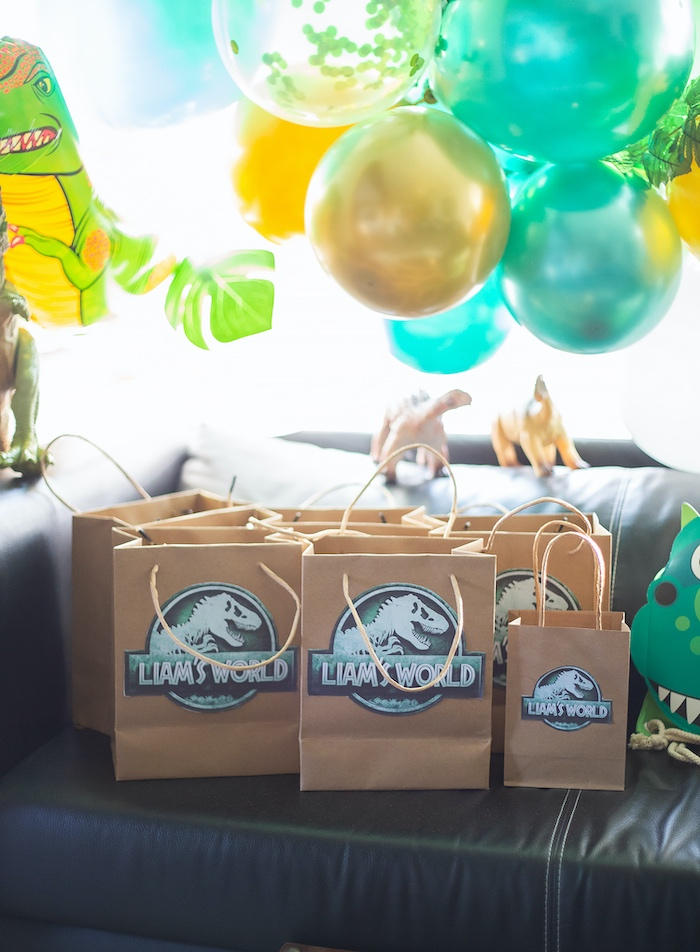 Jurassic World Favor Sacks from a Jurassic World Dinosaur Birthday Party on Kara's Party Ideas   KarasPartyIdeas.com