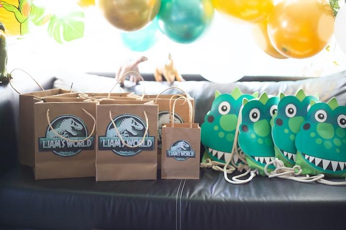 Dinosaur Party Favors from a Jurassic World Dinosaur Birthday Party on Kara's Party Ideas   KarasPartyIdeas.com