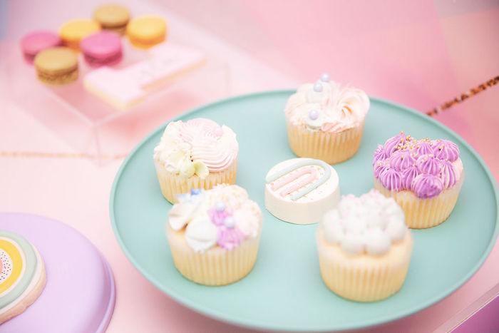 Rainbow Oreo + Cupcakes from a Magical Rainbows, Hearts & Swans Drive-by Birthday Party on Kara's Party Ideas | KarasPartyIdeas.com