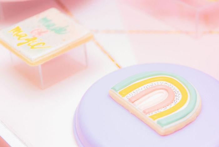 Rainbow Cookie from a Magical Rainbows, Hearts & Swans Drive-by Birthday Party on Kara's Party Ideas | KarasPartyIdeas.com