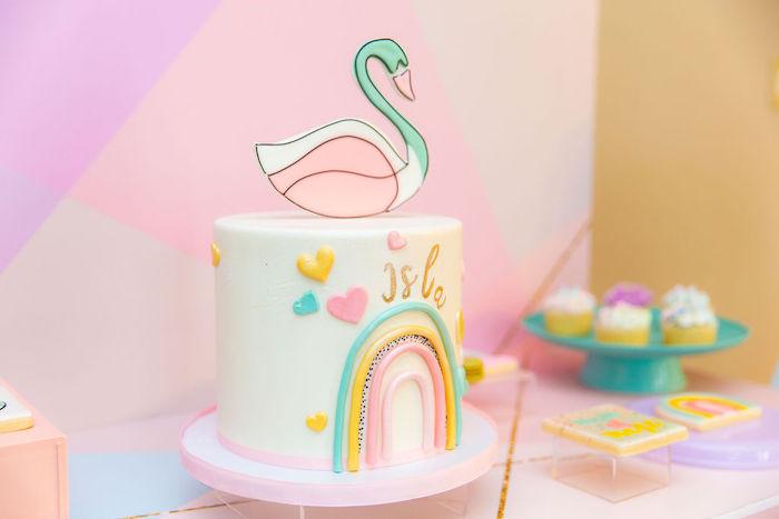 Rainbow Swan Cake from a Magical Rainbows, Hearts & Swans Drive-by Birthday Party on Kara's Party Ideas | KarasPartyIdeas.com