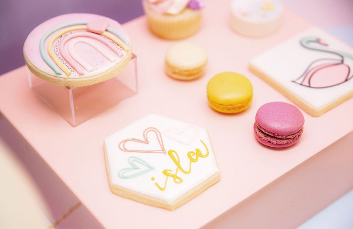 Cookies + Macarons from a Magical Rainbows, Hearts & Swans Drive-by Birthday Party on Kara's Party Ideas | KarasPartyIdeas.com