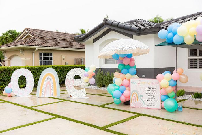 Magical Rainbows, Hearts & Swans Drive-by Birthday Party on Kara's Party Ideas | KarasPartyIdeas.com