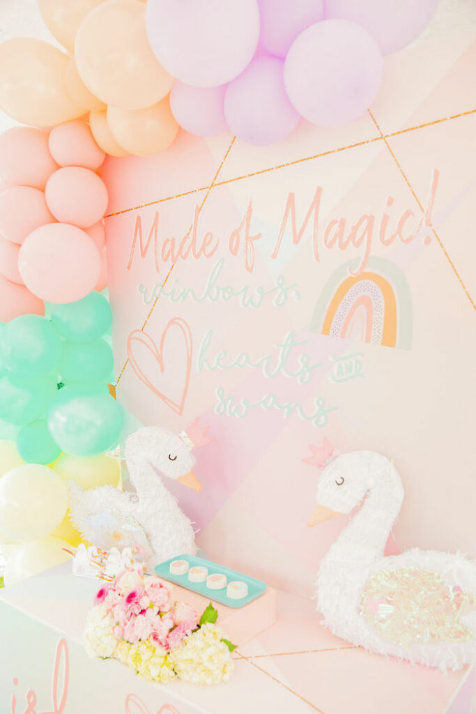 Made of Magic! Dessert Table from a Magical Rainbows, Hearts & Swans Drive-by Birthday Party on Kara's Party Ideas | KarasPartyIdeas.com