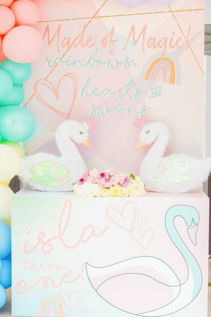 Made of Magic! Swan Dessert Table from a Magical Rainbows, Hearts & Swans Drive-by Birthday Party on Kara's Party Ideas | KarasPartyIdeas.com
