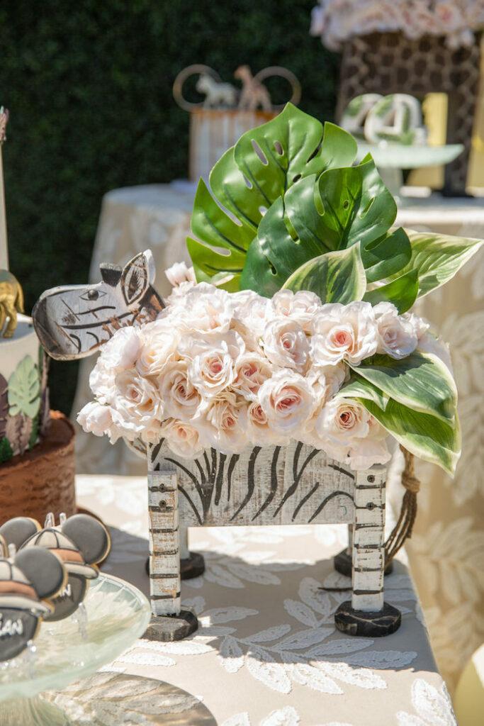 Zebra Floral Box + Centerpiece from a Mickey Mouse Safari Party on Kara's Party Ideas | KarasPartyIdeas.com