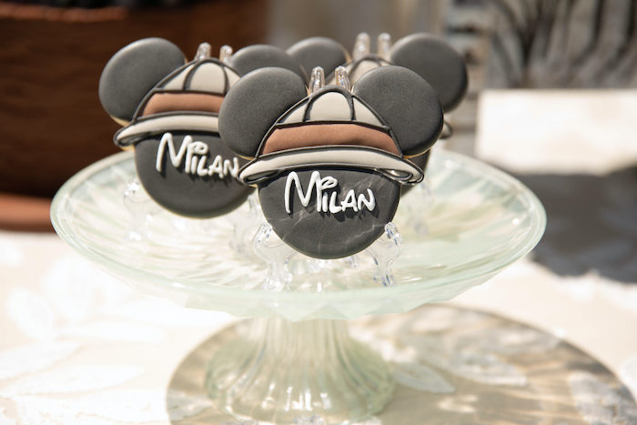 Custom Mickey Mouse Safari Cookies from a Mickey Mouse Safari Party on Kara's Party Ideas | KarasPartyIdeas.com