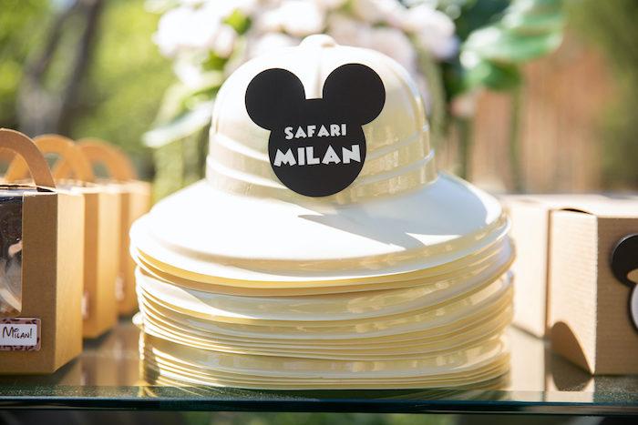 Mickey Mouse Safari Hats from a Mickey Mouse Safari Party on Kara's Party Ideas | KarasPartyIdeas.com