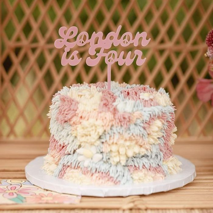 Shag Cake from a Muted Boho 4Ever Young Birthday Party on Kara's Party Ideas | KarasPartyIdeas.com