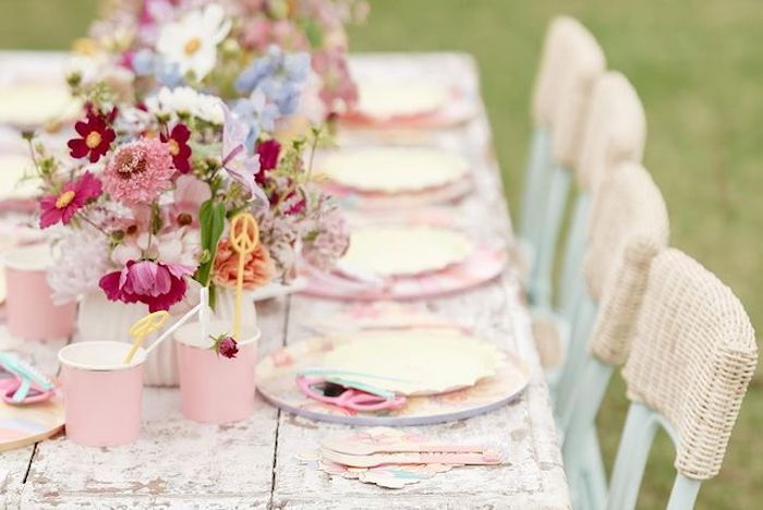 Playful Boho Guest Table from a Muted Boho 4Ever Young Birthday Party on Kara's Party Ideas | KarasPartyIdeas.com