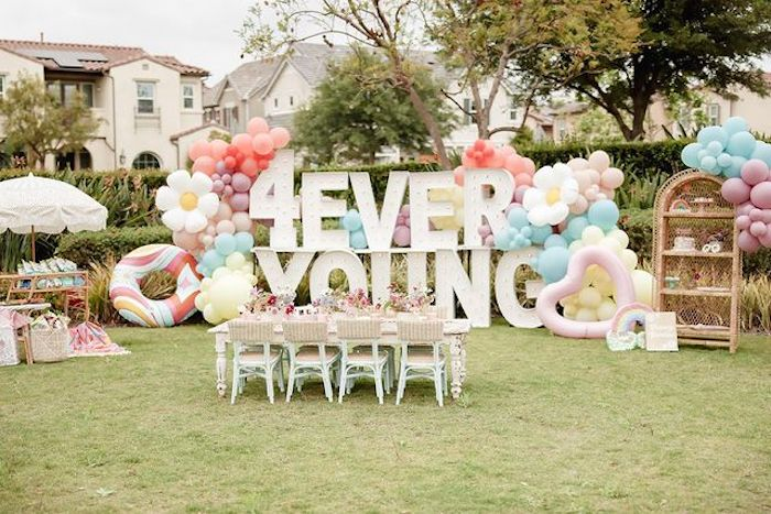 Muted Boho 4Ever Young Birthday Party on Kara's Party Ideas | KarasPartyIdeas.com