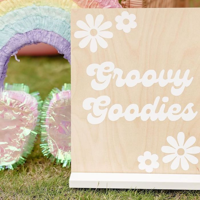 Groovy Goodies - Dessert Table Signage from a Muted Boho 4Ever Young Birthday Party on Kara's Party Ideas | KarasPartyIdeas.com