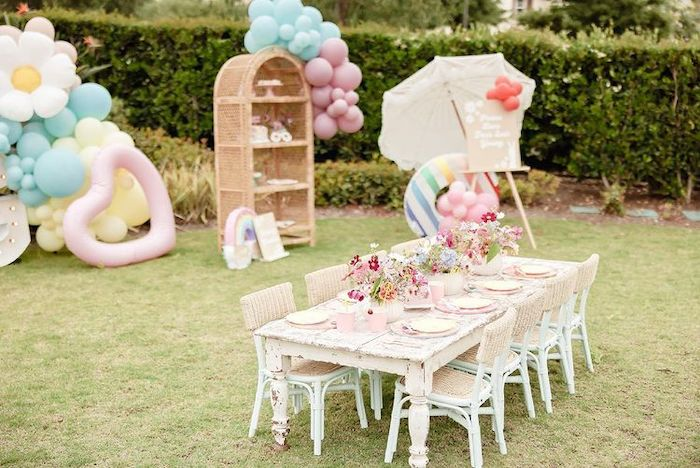 Vintage Boho Guest Table from a Muted Boho 4Ever Young Birthday Party on Kara's Party Ideas | KarasPartyIdeas.com