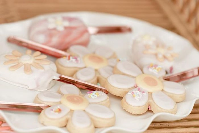 Flower Cookies and Cakesicles from a Muted Boho 4Ever Young Birthday Party on Kara's Party Ideas | KarasPartyIdeas.com
