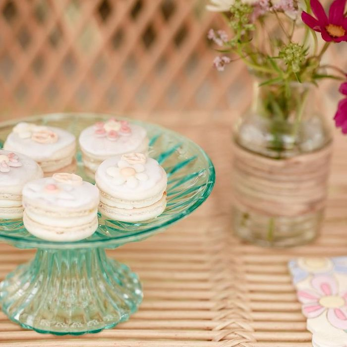 Flower-topped Macarons from a Muted Boho 4Ever Young Birthday Party on Kara's Party Ideas | KarasPartyIdeas.com