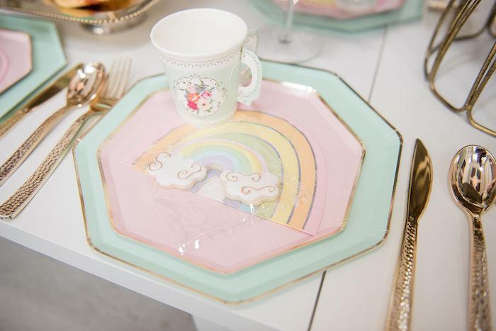 Glam Rainbow Table Setting from a Pastel Rainbow Tea Party on Kara's Party Ideas   KarasPartyIdeas.com