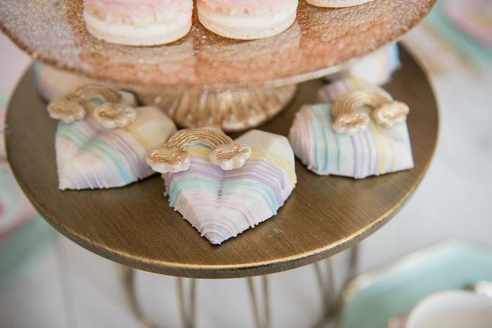 Rainbow Heart Chocolates from a Pastel Rainbow Tea Party on Kara's Party Ideas   KarasPartyIdeas.com