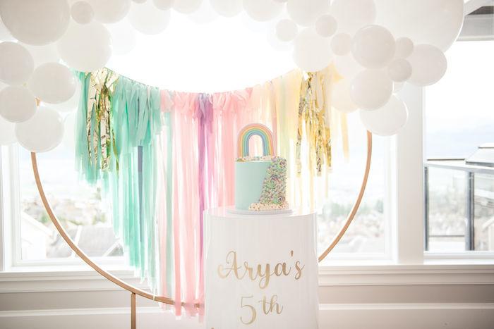 Glam Rainbow Cake from a Pastel Rainbow Tea Party on Kara's Party Ideas   KarasPartyIdeas.com