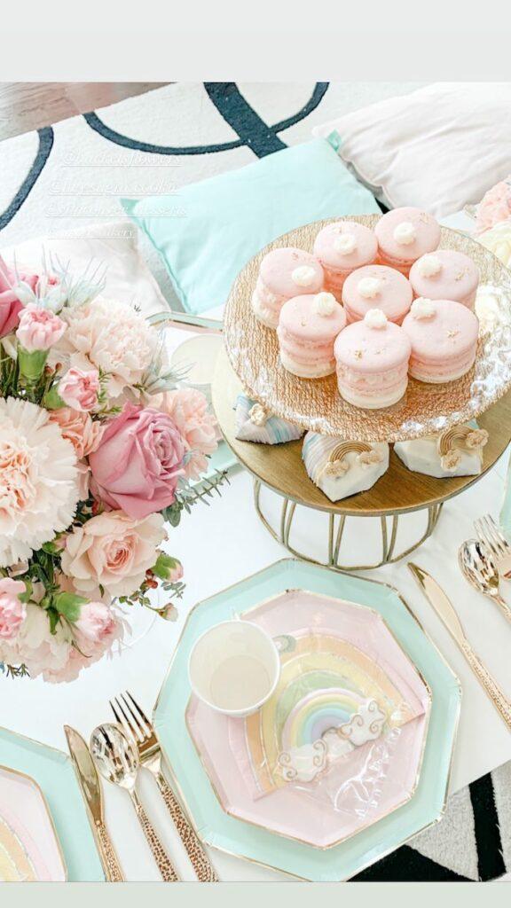 Glam Pastel Rainbow Guest Table from a Pastel Rainbow Tea Party on Kara's Party Ideas   KarasPartyIdeas.com