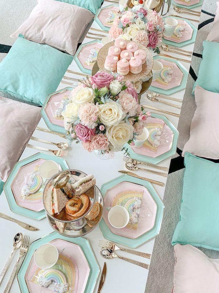 Girly Rainbow Themed Guest Table from a Pastel Rainbow Tea Party on Kara's Party Ideas   KarasPartyIdeas.com