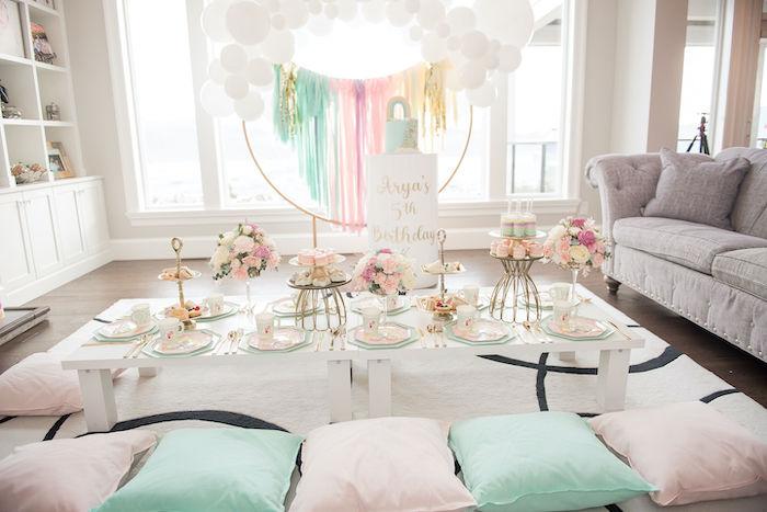Pastel Rainbow Tea Party on Kara's Party Ideas   KarasPartyIdeas.com
