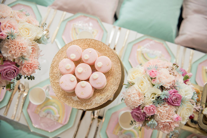 Glam Pink Macarons from a Pastel Rainbow Tea Party on Kara's Party Ideas   KarasPartyIdeas.com