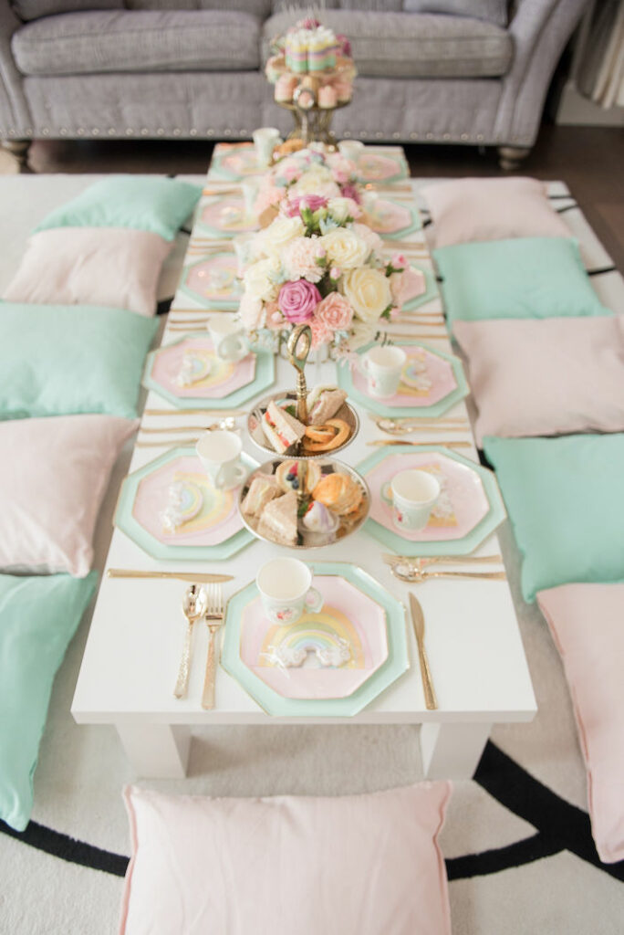 Pastel Rainbow Tea Party Table from a Pastel Rainbow Tea Party on Kara's Party Ideas   KarasPartyIdeas.com
