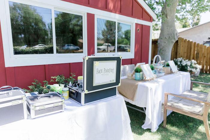 "Activity Tables from a ""Let Your Dreams Bloom"" Boho Garden Picnic on Kara's Party Ideas | KarasPartyIdeas.com"