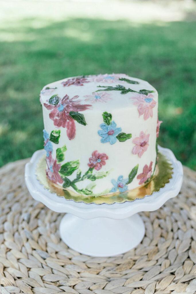 "Floral Cake from a ""Let Your Dreams Bloom"" Boho Garden Picnic on Kara's Party Ideas | KarasPartyIdeas.com"