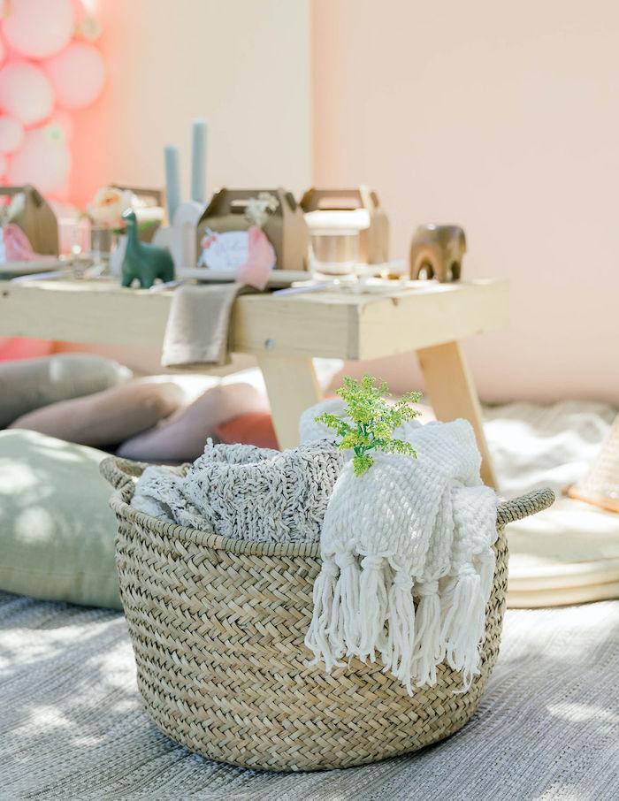 "Basket of Blankets from a ""Let Your Dreams Bloom"" Boho Garden Picnic on Kara's Party Ideas | KarasPartyIdeas.com"