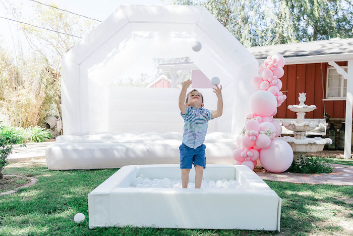 "Ball Pit & Bounce House from a ""Let Your Dreams Bloom"" Boho Garden Picnic on Kara's Party Ideas | KarasPartyIdeas.com"