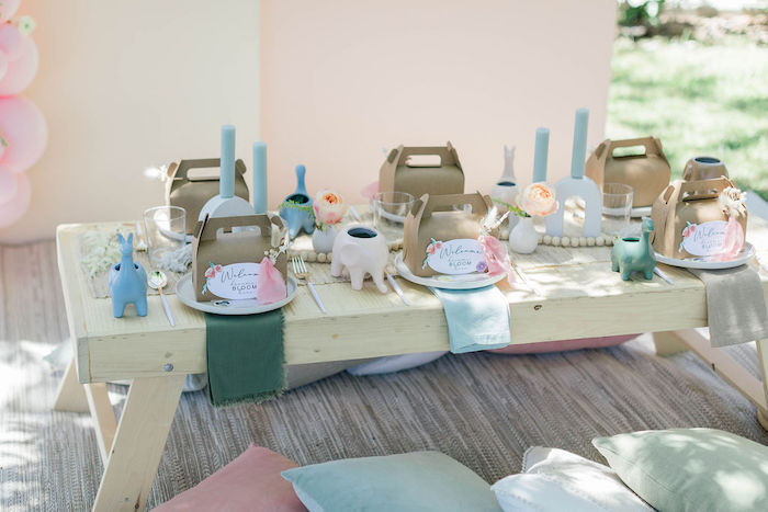 "Boho Bloom Guest Table from a ""Let Your Dreams Bloom"" Boho Garden Picnic on Kara's Party Ideas | KarasPartyIdeas.com"