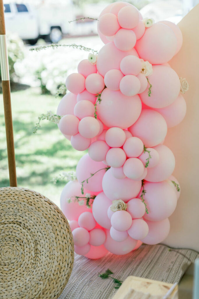 """Floral-infused Pink Balloon Install from a """"Let Your Dreams Bloom"""" Boho Garden Picnic on Kara's Party Ideas 