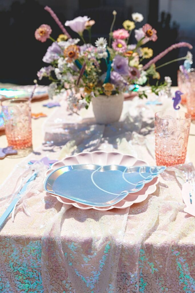 "Ocean Themed Table Setting from a ""Sea the Magic"" Enchanted Ocean Party on Kara's Party Ideas | KarasPartyIdeas.com"