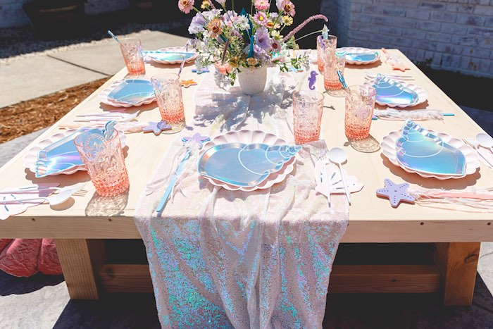 "Ocean Themed Guest Table from a ""Sea the Magic"" Enchanted Ocean Party on Kara's Party Ideas | KarasPartyIdeas.com"