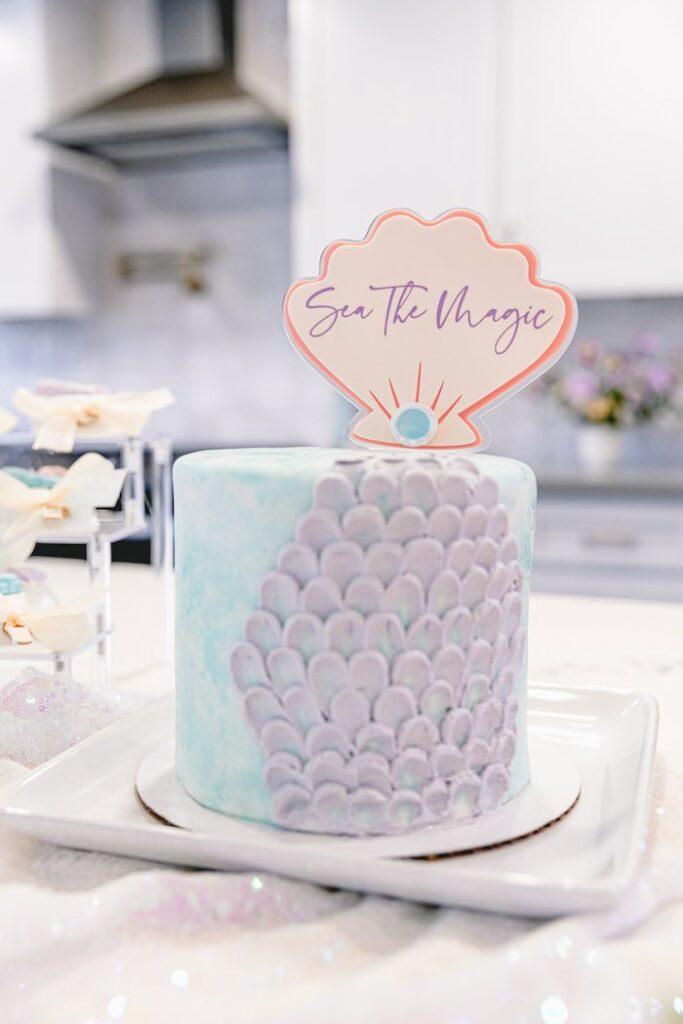 "Sea Themed Cake from a ""Sea the Magic"" Enchanted Ocean Party on Kara's Party Ideas | KarasPartyIdeas.com"