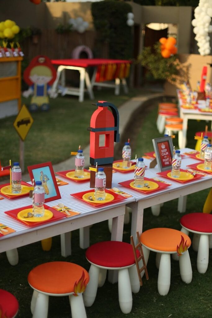 """Firemen Themed Kid Table from a """"Stop, Drop and Roll"""" Fireman Party on Kara's Party Ide"""