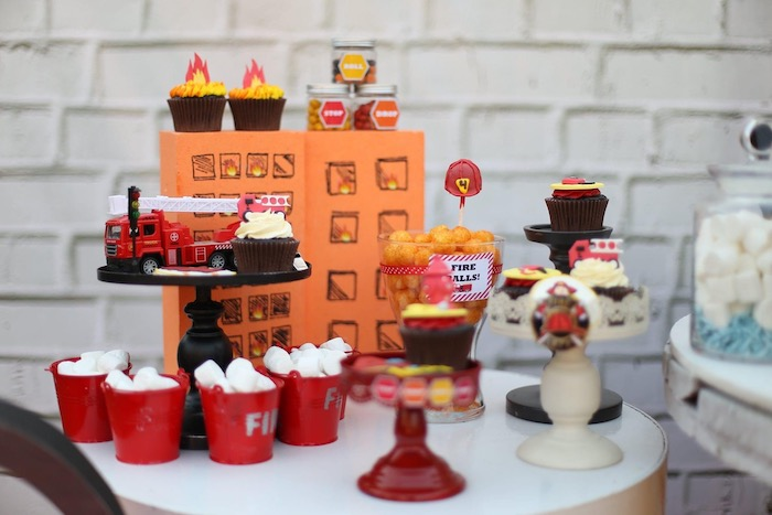 """Firemen Themed Dessert Table from a """"Stop, Drop and Roll"""" Fireman Party on Kara's Party Ide"""
