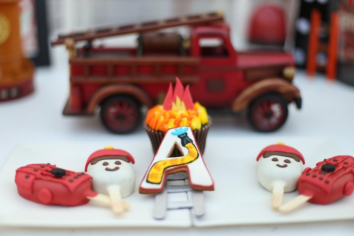 """Firemen Themed Desserts from a """"Stop, Drop and Roll"""" Fireman Party on Kara's Party Ide"""