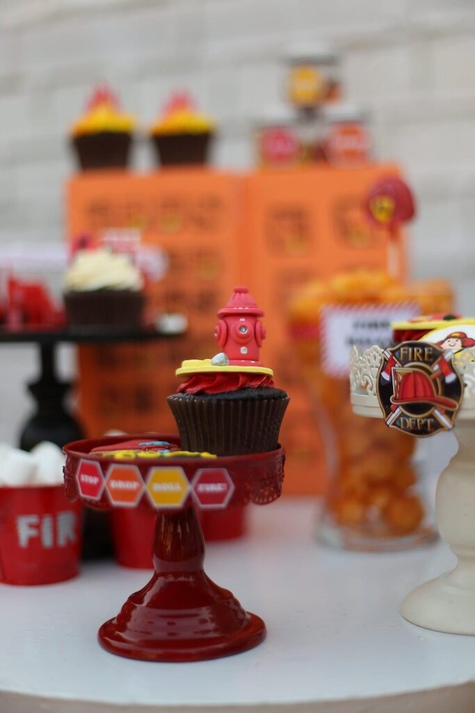 """Fire Hydrant Cupcake from a """"Stop, Drop and Roll"""" Fireman Party on Kara's Party Ide"""