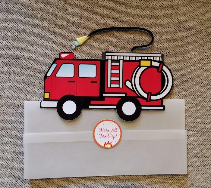 """Firetruck Party Invite from a """"Stop, Drop and Roll"""" Fireman Party on Kara's Party Ide"""