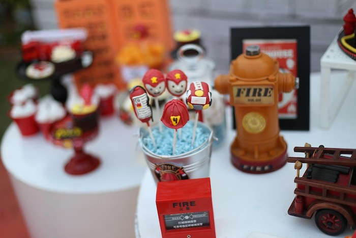 """Firemen Themed Cake Pops from a """"Stop, Drop and Roll"""" Fireman Party on Kara's Party Ide"""