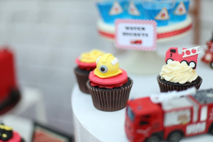 """Firemen Themed Cupcakes from a """"Stop, Drop and Roll"""" Fireman Party on Kara's Party Ide"""