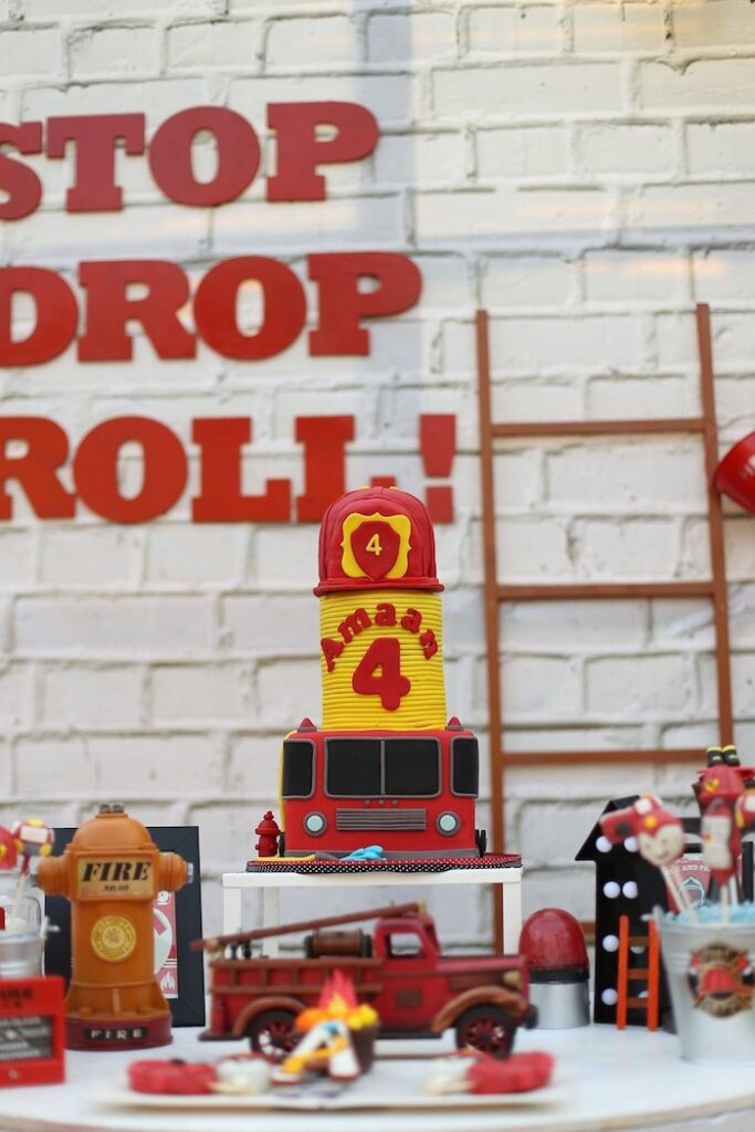 """Fireman Themed Birthday Cake from a """"Stop, Drop and Roll"""" Fireman Party on Kara's Party Ide"""