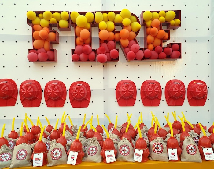 """FIRE Wall + Firemen Party Favor from a """"Stop, Drop and Roll"""" Fireman Party on Kara's Party Ide"""