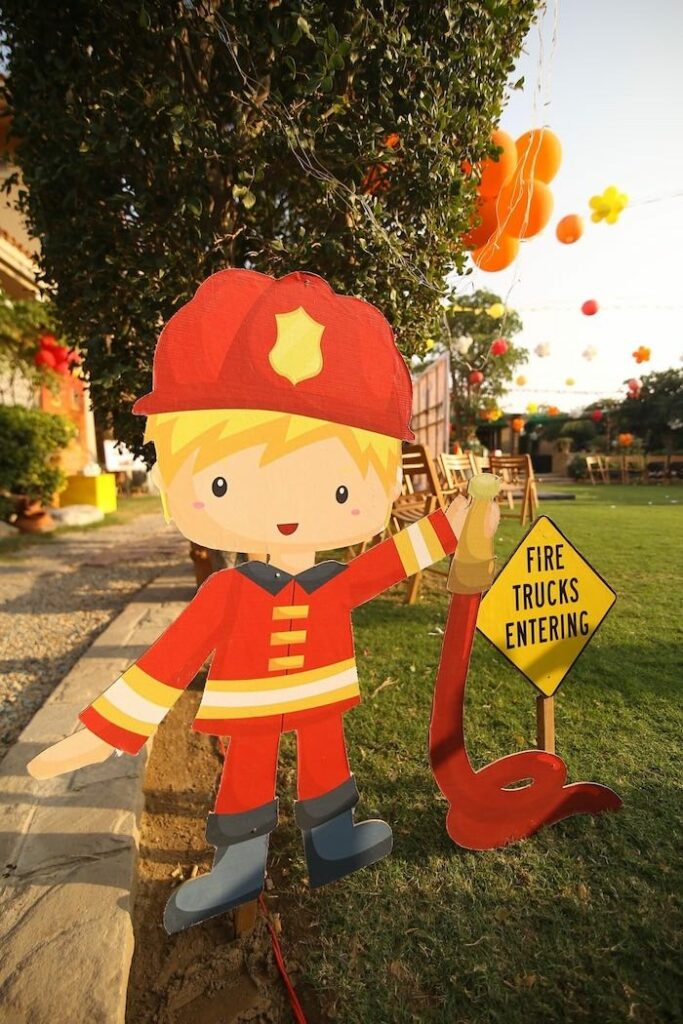 """Fireman Standee from a """"Stop, Drop and Roll"""" Fireman Party on Kara's Party Ide"""