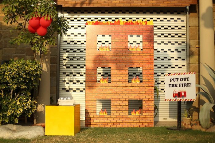 """Burning Building Ball Toss Game from a """"Stop, Drop and Roll"""" Fireman Party on Kara's Party Ide"""