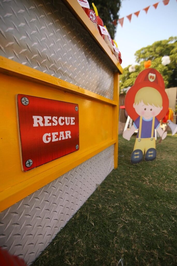 """Firemen Themed Party Signage + Decor from a """"Stop, Drop and Roll"""" Fireman Party on Kara's Party Ide"""