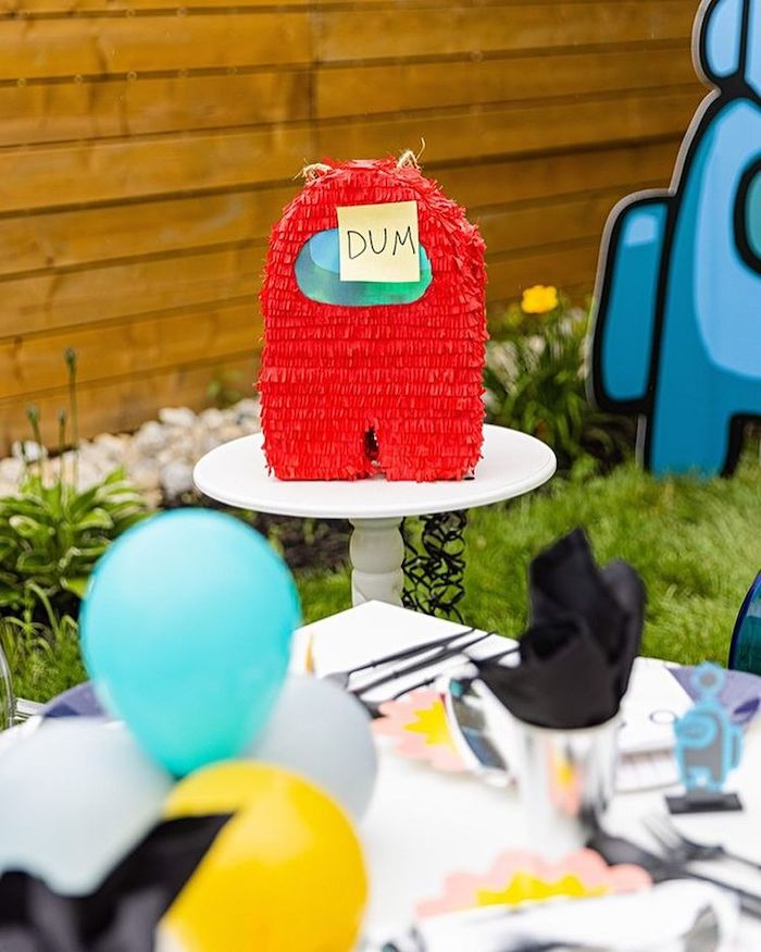 Among Us Pinata from an Among Us Birthday Party on Kara's Party Ideas | KarasPartyIdeas.com